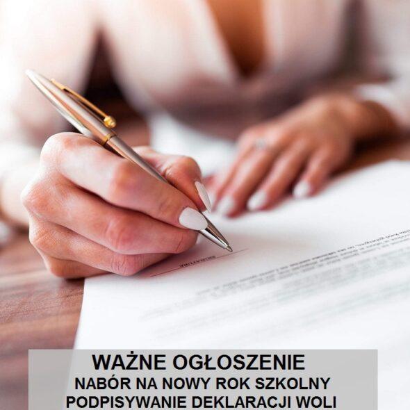 Ważne ogłoszenie - podpisywanie deklaracji woli